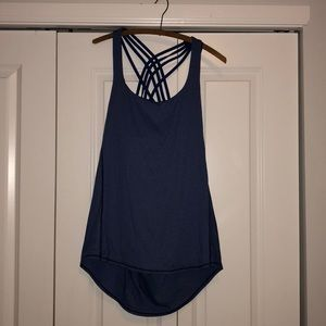 Lululemon tank top with built in bra blue size 12